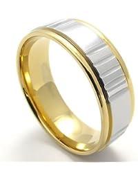 KONOV Joyería Anillo de hombre mujer, Compromiso, Boda, Amor, Acero inoxidable, Color oro plata (con bolsa de regalo)