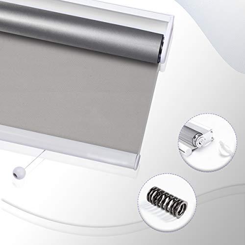 HOMEDEMO Verdunkelungsrollo Springrollo Mittelzugrollo Rollo mit Bohren Blickdicht verdunkelnd Rollos für Fenster und Tür 120 x 195 cm Grau