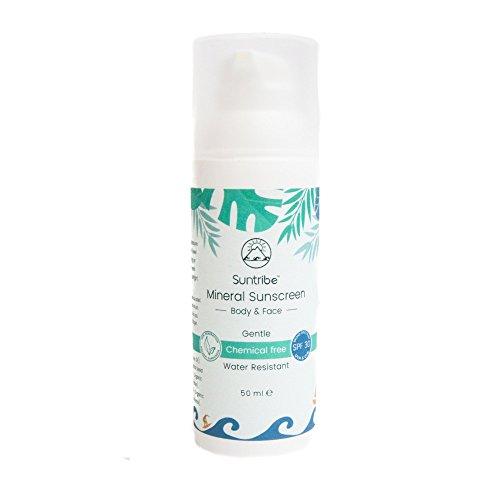Suntribe Bio-Sonnencreme LSF 30 - Körper & Gesicht - 100% Zink - Wasserfest - Riff freundlich - 7 Inhaltsstoffe (100ml) … (50ml)