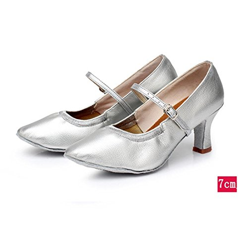 Wxmddn Femme Danse Moderne Argent Chaussures Chaussures De Danse Femme Adulte 7 Cm Talon Haut Chaussures De Danse En Plein Air Semelles Souples Chaussures De Danse Quatre Saisons Argent 7 Cm Pour L'extérieur