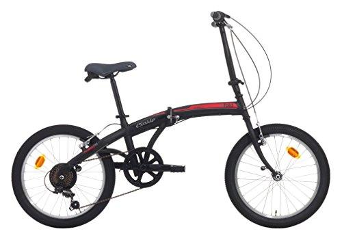 Cicli Cinzia Citybike City Fold 6/V Revo Shift V-Brake, Bicicletta Unisex – Adulto, Nero Op./Rosso, 20