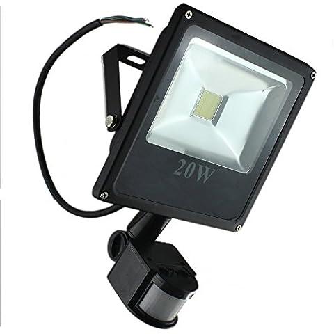 PMS 10W20W/30W/50W Delgado LED Foco proyector Luz, con iluminación LED y PIR sensor de movimiento (20W, Blanco Cálido )