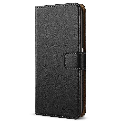 HOOMIL Handyhülle für Sony Xperia X Hülle, Premium Leder Flip Schutzhülle für Sony Xperia X Tasche, Schwarz