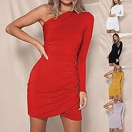 f28cb187db99 Innerternet Vestito da Donna Sexy Tracolla a Spalla Vintage Elegante Estate  Slim Corta Mini Orlo Plissettata ...