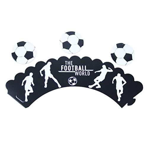 Toyvian 24pcs Cupcake Topper y envolturas de fútbol de fútbol patrón para la Fiesta de cumpleaños de fútbol Suministros decoración de la Torta