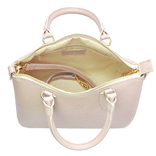 Edge Handbags - Borsa Bauletto da Donna in pelle - Borsa a mano 2Way - Chiusura a zip - Borsa con tracolla removibile - Dimensioni 24-28x18x10-15 cm (LxAxP) - 100% Made in Italy - Sonia.011 Cipria