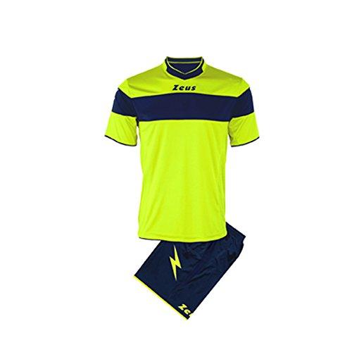 Kit zeus apollo completino completo calcio calcetto muta torneo scuola sport (giallo fluo-blu, l)