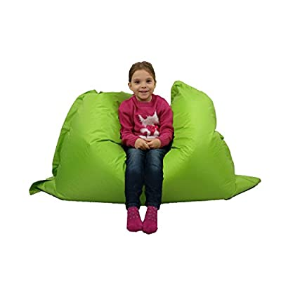 Kids BeanBag Large 6-Way Garden Lounger - GIANT Childrens Bean Bags Outdoor Floor Cushion LIME - 100% Water Resistant