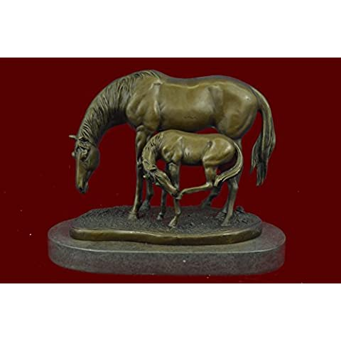 Statua di bronzo Scultura...Spedizione Gratuita...Firmato in marmo originale Miguel Lopez Madre & Mare cavallo(YDW-216-JP)Statue Figurine Figurine Nude per ufficio e casa Décor Primo Giorno Collezion