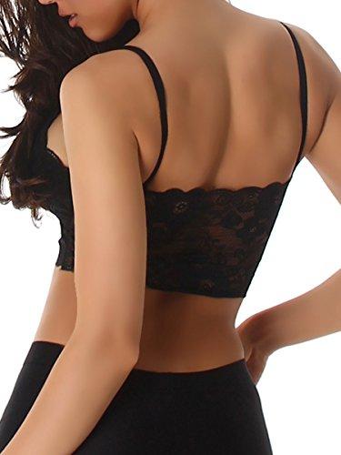 Damen Sport Top, ein sportlicher PushUp BH mit dezenter Spitze verarbeitet in Schwarz oder Weiß, Größe 32-38 Schwarz
