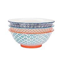 """Nicola Spring Patterned Salad & Fruit Ceramic Serving Bowls, 203mm (8"""") - Set of 3 Designs"""