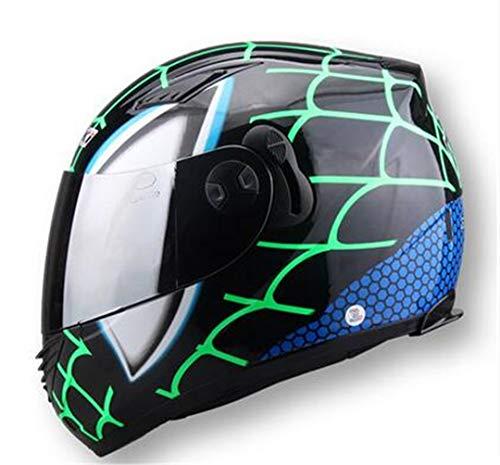 Preisvergleich Produktbild Henpooseng Racing Iron-Man Helme Vollgesichts Motorrad Helm Spider Doppelscheibe Casco Motorrad Spider Man Green XL