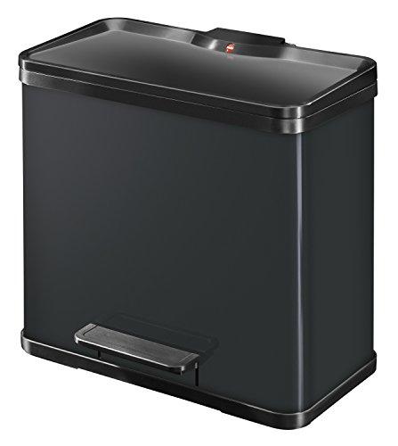 Hailo Öko duo Plus L, Mülltrenner, 17+9 Liter, 2 einzeln herausnehmbare Inneneimer, Deckeldämpfung (Soft Close), schwarz, made in Germany, 0630-260