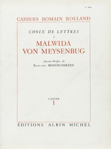 Choix de lettres à Malwida von Meysenbug (livre non massicoté)