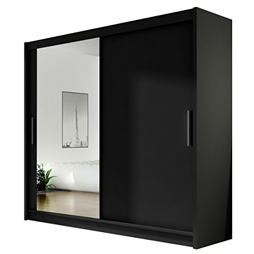 Kleiderschrank mit Spiegel London VI, Schwebetürenschrank, Schiebetürenschrank, Modernes Schlafzimmerschrank 180x215x57cm, Garderobe, Schlafzimmer (Schwarz)