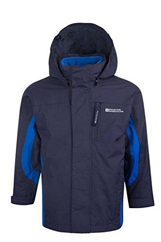 Mountain Warehouse Cannonball Wasserdichte 3-in-1-Kinderjacke mantel + Fleece Regenschutz Funktionsjacke Doppeljacke Winterjacke Marineblau 152 (11-12 Jahre)
