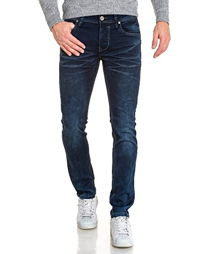 BLZ jeans - Jean bleu droit délavé froissé homme Bleu