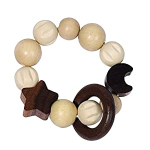 Heimess 734930 Wooden Elasticated Touch Ring Rattle (Moon and Stars)
