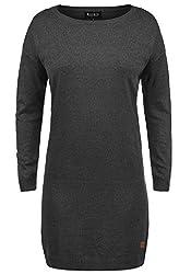 DESIRES Ella Damen Strickkleid Feinstrickkleid Kleid Mit Rundhals, Größe:M, Farbe:Dark Grey Melange (8288)