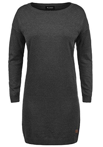 DESIRES Ella Damen Strickkleid Feinstrick Kleid Longsleeve mit Rundhals aus hochwertigem Material, Größe:M, Farbe:Dark Grey Melange (8288)