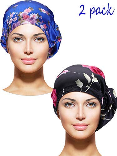 2 Stücke Damen Satin Bonnet Elastische Blume Hut Nacht Schlafmütze zum Schlafen Duschen Liefert (Farbe Set ()