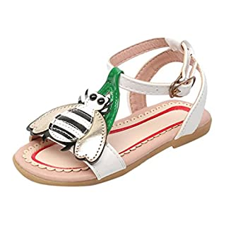 Girls Sandals, IGEMY For Girls 6 Month -6 Years Old Toddler Kids Baby Girls Heart Cartoon Beach Sandals Lovely Princess Roman Single Shoes Summer Anti-Slip Shoes (UK:7.5/Age:4-4.5T, White)