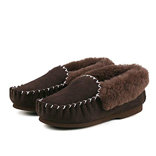 Shenduo - Mocassins fourrées de mouton femme, Bottes & Boots basses confort doublure chaude de laine D9529 Chocolat