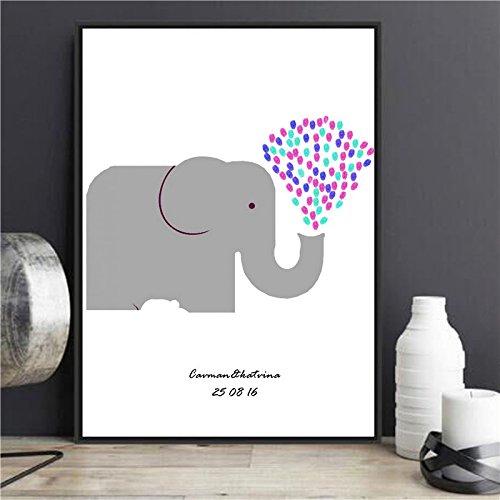 ARIESDY Kreatives DIY Gästebuch mit Signatur, Fingerabdruck-Gemälde für Hochzeit, Geburtstag, Party, Leinwand, Hochzeit, Unterschrift Gästebuch Elefant, a, 30x40cm (with Frame)