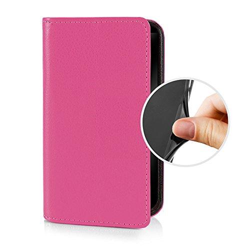eSPee für -- Sony Xperia M5 -- Schutzhülle Wallet Flip Case Pink mit Silikon Bumper und Magnetverschluß