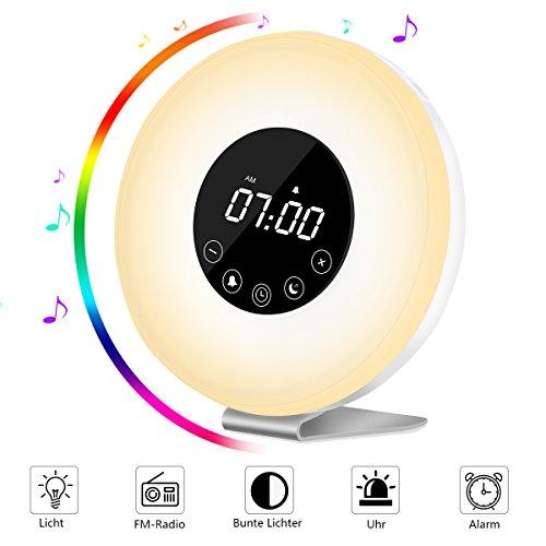 Lichtwecker Wake-Up light LED wecker (Neue Version), AUELEK Wake Up Licht, Kinderwecker, Radiowecker, FM Radio, Nachtlicht, Tageslichtwecker, 7 Farbige LED Lichter, 6 Alarm Töne, 10 Helligkeitsstufen