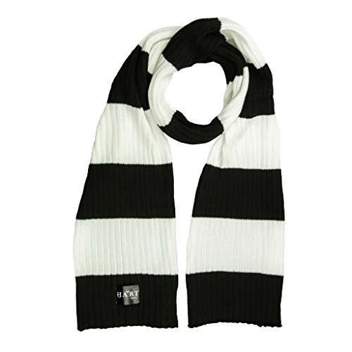 Hart Mens Black and White Stripe Cotton Ribbed Scarf