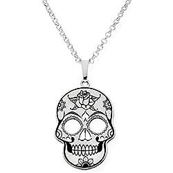 Silver & Steel Collar con colgante de plata calavera mexicana
