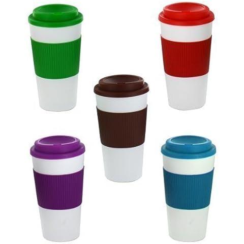 Zizzi - Aislado termal nueva taza té café plástico de viajes taza tapa para llevar 450ml 16oz