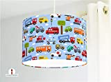 Deckenlampe fürs Kinderzimmer Jungs Babys mit Autos Feuerwehr in Hellblau