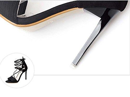 NobS Open Toe Incrociate Cinghia Sandali Tacchi Alti Bow Pompa Stiletto Black
