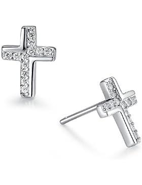Sterling Silber Kreuz mit Zirkonia Ohrstecker Damen - Sy020e1