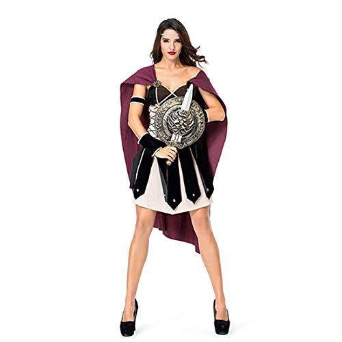 Athene Göttin Kostüm - HOOLAZA Frauen Multicolor Athene God of War Kostüm Klassische Griechische Göttin Tube Top Cosplay Kleid 4 Stücke Bühnenkostüm