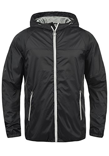 Blend Nevi Herren Windbreaker Regenjacke Übergangsjacke mit Kapuze, Größe:XL, Farbe:Black (70155)