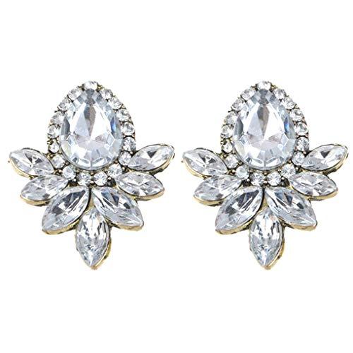 Arichtop 1 Paar Frauen-Mädchen-Kristallblumen-Ohrringe Oval Gems Wassertropfen Ohrstecker Ohrringe Schmuck Geschenke