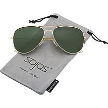 967fa10268 SOJOS Gafas De Sol Para Hombres Y Mujeres Clásico Marco Metal Lentes Espejo  Polarizadas SJ1054