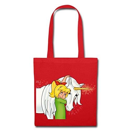 Spreadshirt Bibi Blocksberg Mit Einhorn Goldhörnchen Stoffbeutel Rot