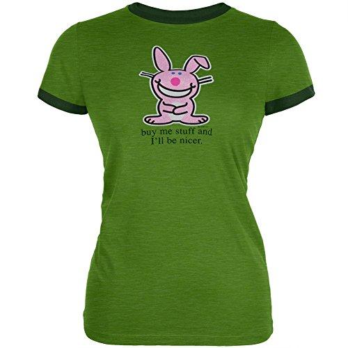 Happy Bunny - Kauf mir Sachen Ringer Damen T-Shirt-groß (Ringer Bunny)