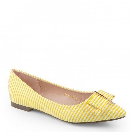Ideal Shoes-Ballerine con righe, decorate con un nodo Rochella, Giallo (giallo), (Giallo Ballerina)