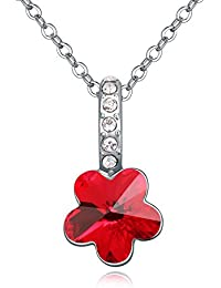 Hot And Bold Swarovski Crystal Flower Pendant Necklace. Daily/Party Wear Fashion Jewellery.
