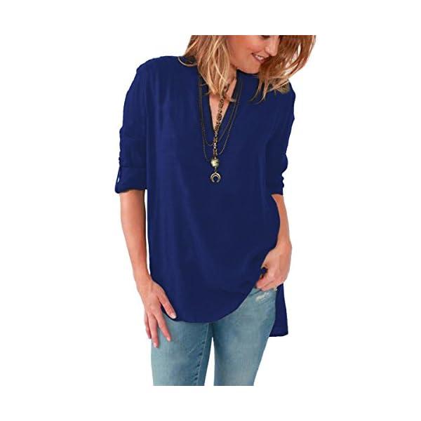 Blusas de Vestir Manga Larga Cuello en V Blusa Gasa Fiesta Camisas Mujer Camisetas Largas Elegantes Dama Bonitas Blusas Top para Se/ñoras Blusones Anchas