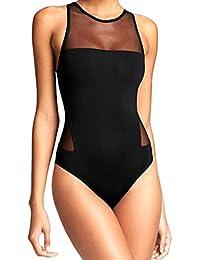 Donna Costumi da bagno nuovo nero garza sexy con schienale elastico beachwear ,Yanhoo® Costume Intero Donna Piscina Sportivo Taglie Forti Halter Sexy Imbottito Push Up Mare Nuota