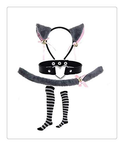 Z-one 1 Katze Stirnband Cosplay Anime Maid K?tzchen Hase M?dchen Lolita Lange Fuchsschwanz Bein Socke 4 Teile/Satz Armband Casual Cafe Zubeh?r Kost¨¹m - Cheshire Cat Sexy Kostüm