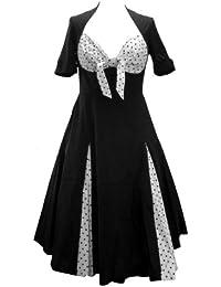 Jive Bunny Robe Noir à Pois en Style Rockabilly avec Mignon Décolleté en Coeu et Jupe Ample. Dans les Tailles 36-58.