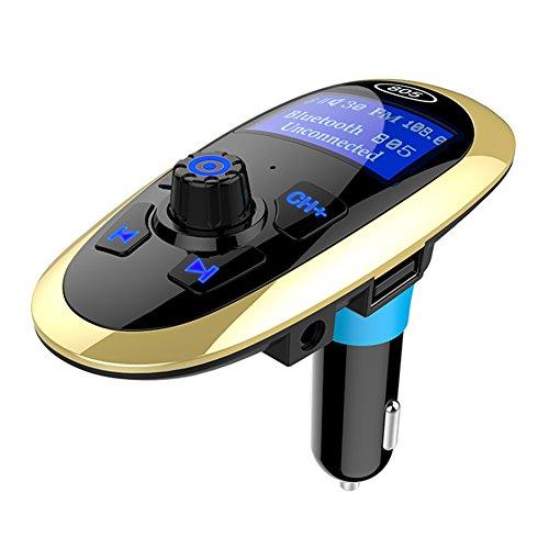 Kuizhiren1 Bluetooth FM-Sender,Bluetooth FM Transmitter Bluetooth FM Modulator Freisprecheinrichtung MP3-Player USB-Ladegerät Black + Golden -