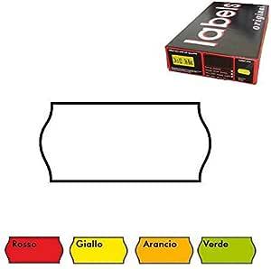26x12 Scatola 36 Rotoli Etichette per Prezzatrice Rosso Fluo Removibile